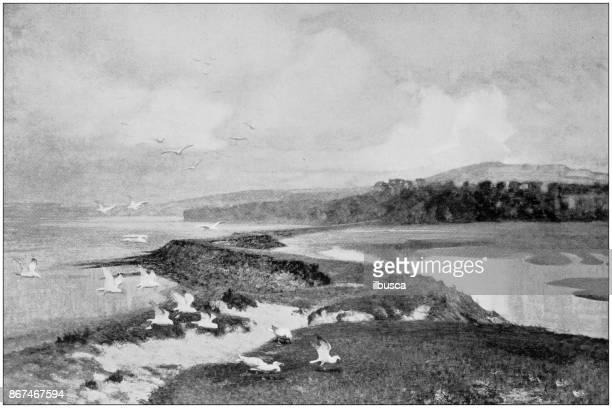 ilustrações de stock, clip art, desenhos animados e ícones de antique photo of paintings: landscape - dique barragem