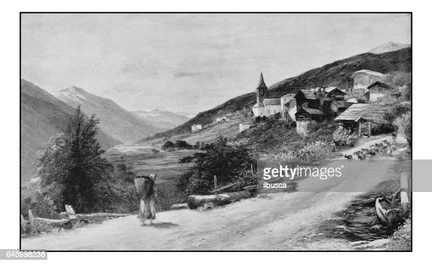 antique photo of paintings: landscape in rhone valley - auvergne rhône alpes stock illustrations, clip art, cartoons, & icons