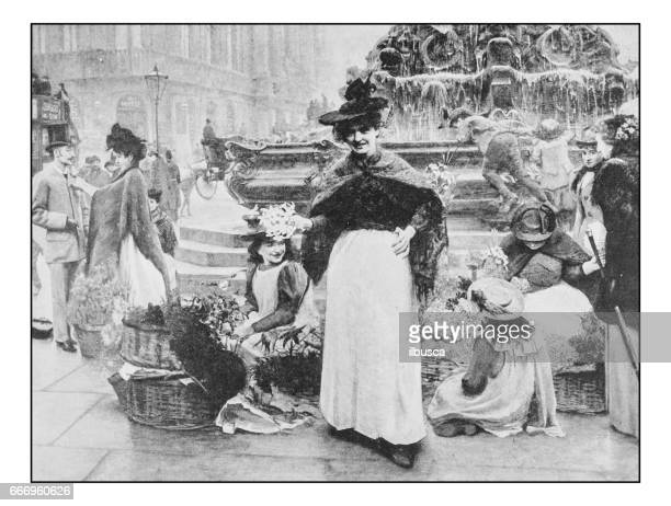 Antique photo of paintings: London flower girls