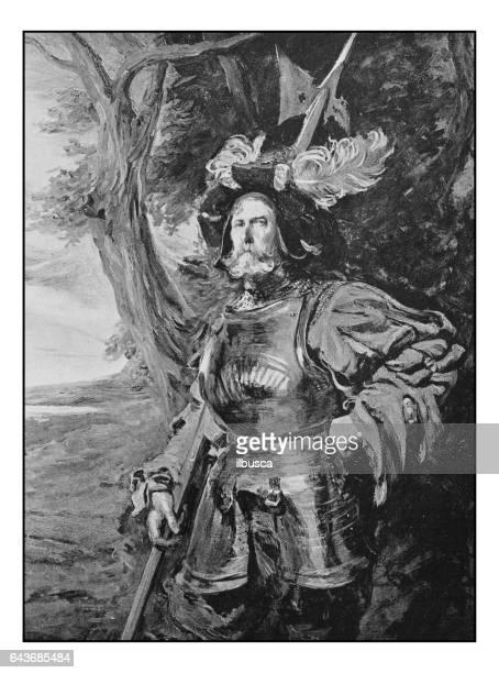 antique photo of paintings: man portrait - halberd stock illustrations