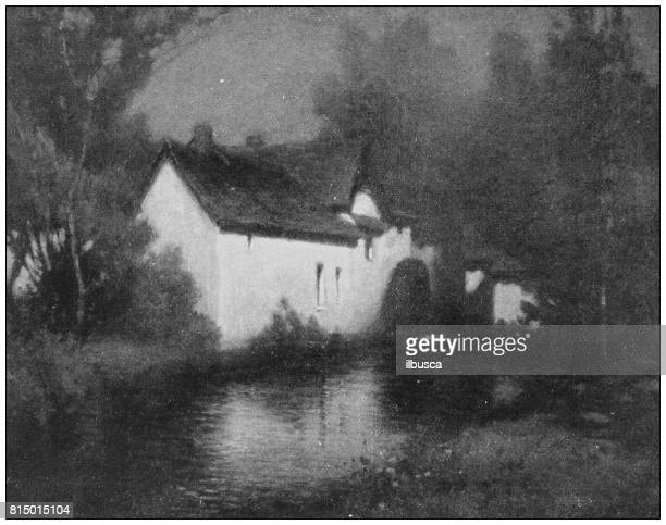 Antique photo of paintings: Mill moonlight