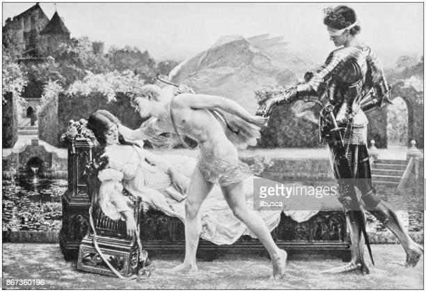 ilustraciones, imágenes clip art, dibujos animados e iconos de stock de fotos antiguas de pinturas: mitología - ojos tapados