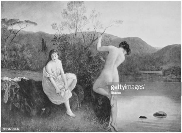 ilustraciones, imágenes clip art, dibujos animados e iconos de stock de fotos antiguas de pinturas: mujeres desnudas en el río - mujer desnuda