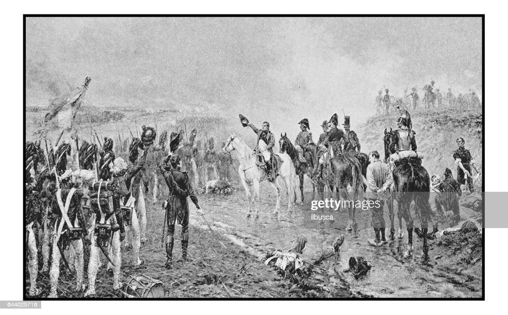 Antique photo of paintings: Napoleon's Waterloo : Stock Illustration