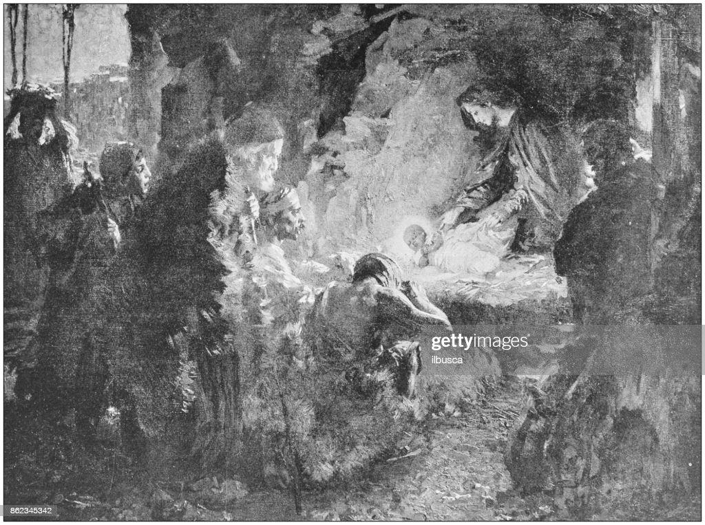 Antique photo of paintings: Nativity : stock illustration