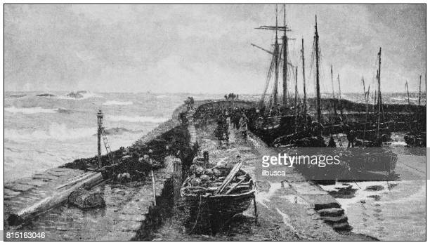Antique photo of paintings: North sea dock