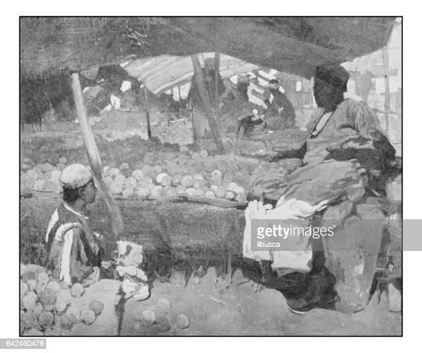 Antique photo of paintings: Orange vendor