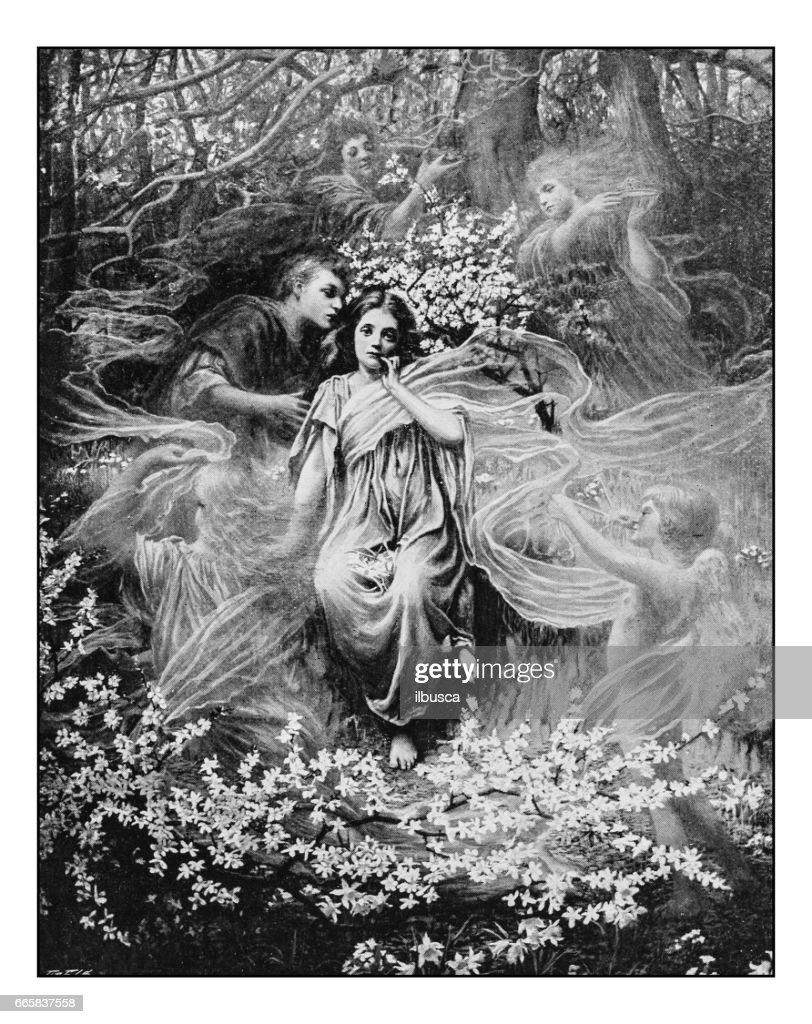 Antique photo of paintings: Phantasy : stock illustration