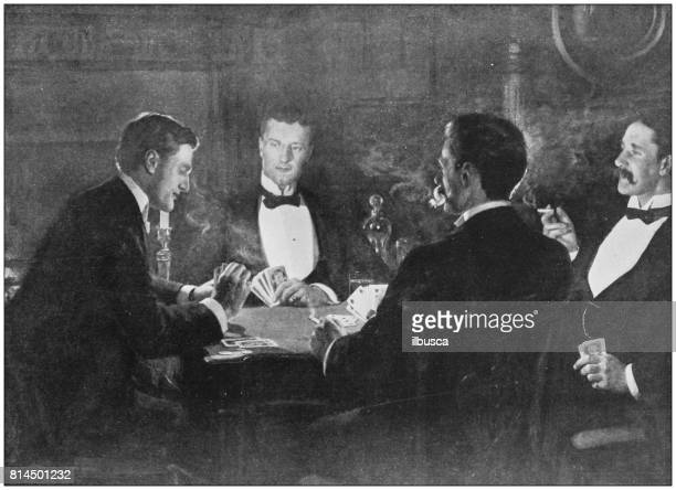 Antique photo of paintings: Playing cards