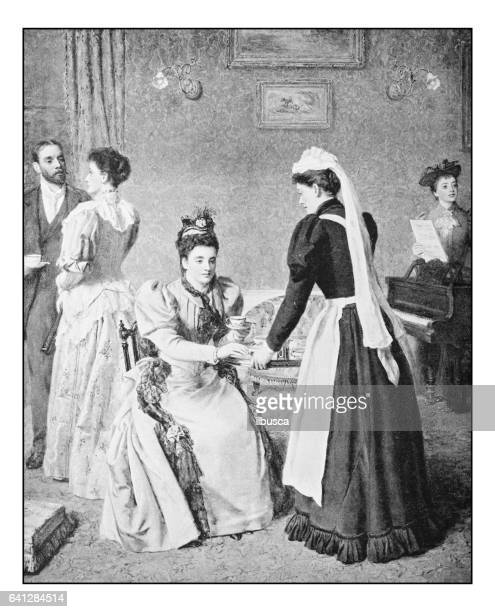 antique photo of paintings: tea party - maid stock illustrations, clip art, cartoons, & icons