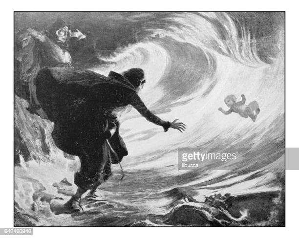 antique photo of paintings: the coming of arthur - wizard stock illustrations, clip art, cartoons, & icons