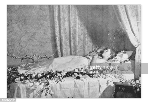 antique photo of paintings: the death of albine - dead girl stock illustrations