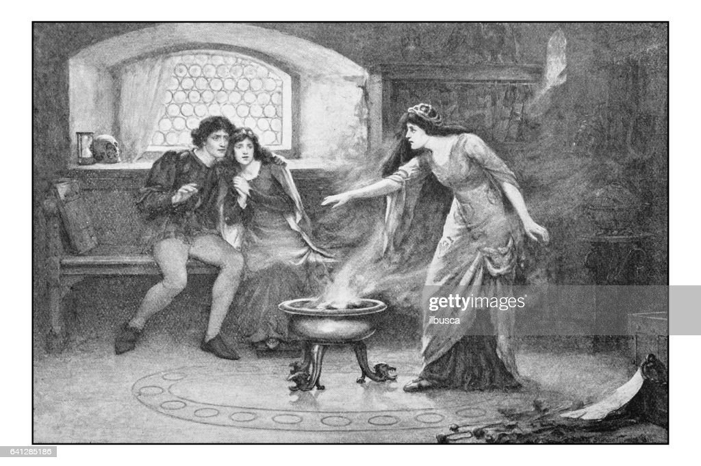 Antique photo of paintings: The incantation : stock illustration
