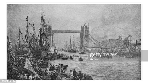 Antique photo of paintings:  Tower Bridge opening ceremony