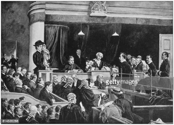 antique photo of paintings: trial for bigamy - courthouse stock illustrations, clip art, cartoons, & icons