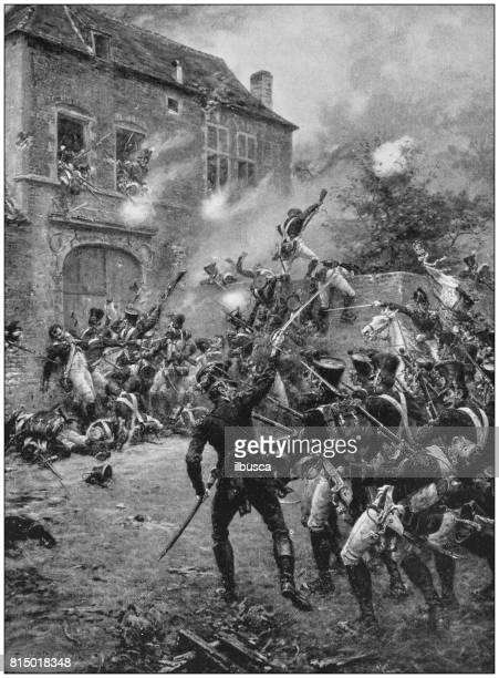 Antieke foto schilderijen: Waterloo aanval