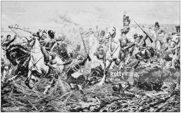 antique photo of paintings: waterloo battle - waterloo belgium stock illustrations