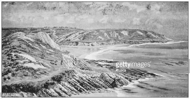 Antieke foto schilderijen: Whiteshell punt, Caswell Bay (kalksteen)