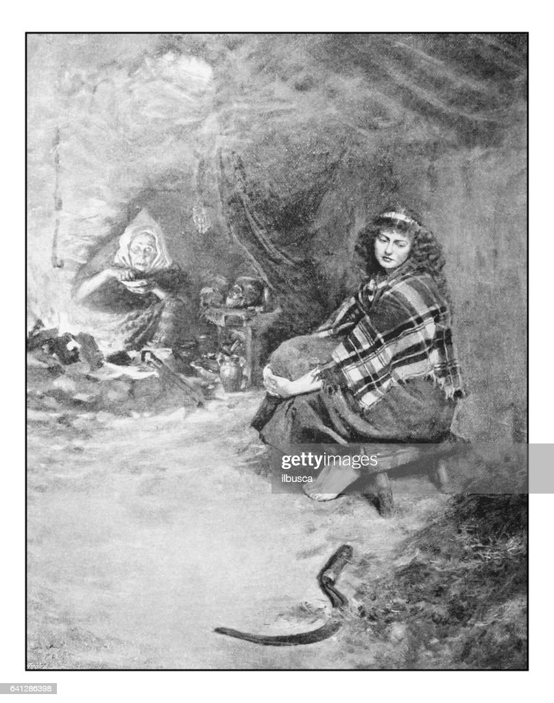 Antique photo of paintings: Woman and witch : stock illustration