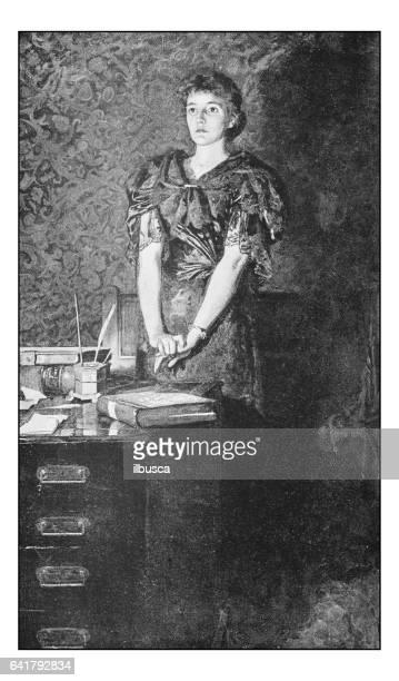 絵画のアンティーク フォト: 女性の肖像画 - 1800~1809年点のイラスト素材/クリップアート素材/マンガ素材/アイコン素材