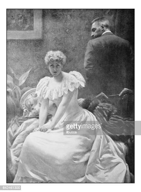 Antique photo of paintings: Woman portrait