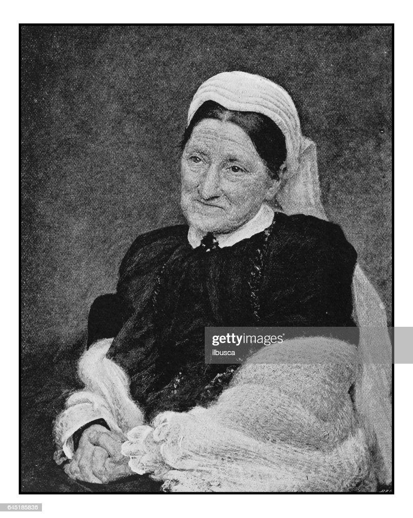 Antique photo of paintings: Woman portrait : stock illustration