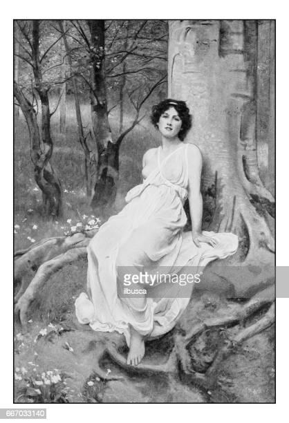 antique photo of paintings: woman portrait - seductive women stock illustrations, clip art, cartoons, & icons