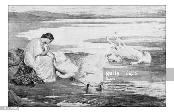絵画のアンティーク フォト: 白鳥を持つ女性 - 1800~1809年点のイラスト素材/クリップアート素材/マンガ素材/アイコン素材