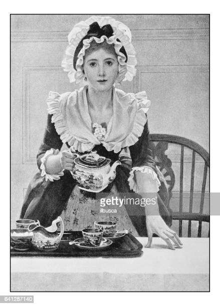 antique photo of paintings: woman with tea - maid stock illustrations, clip art, cartoons, & icons
