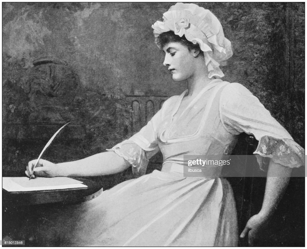 Antique photo of paintings: Woman writing : stock illustration
