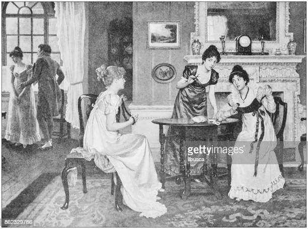 Antique photo of paintings: Women indoors