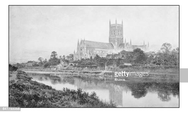 絵画のアンティーク フォト: ウースター大聖堂 - 1800~1809年点のイラスト素材/クリップアート素材/マンガ素材/アイコン素材
