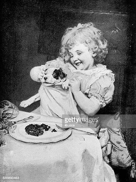 antique photography-derived dot print illustration: girl with dog - dog eating stock illustrations, clip art, cartoons, & icons