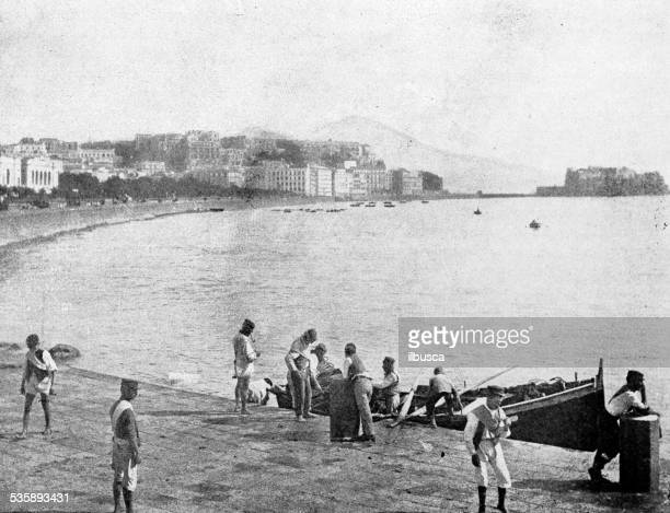 antique photography-derived dot print illustration: people in naples (italy) - mt vesuvius stock illustrations, clip art, cartoons, & icons