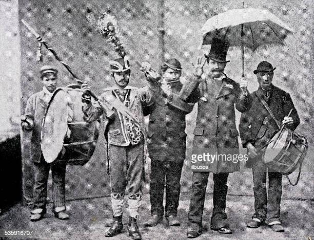 antique photography-derived dot print illustration: people in naples (italy) - musician stock illustrations