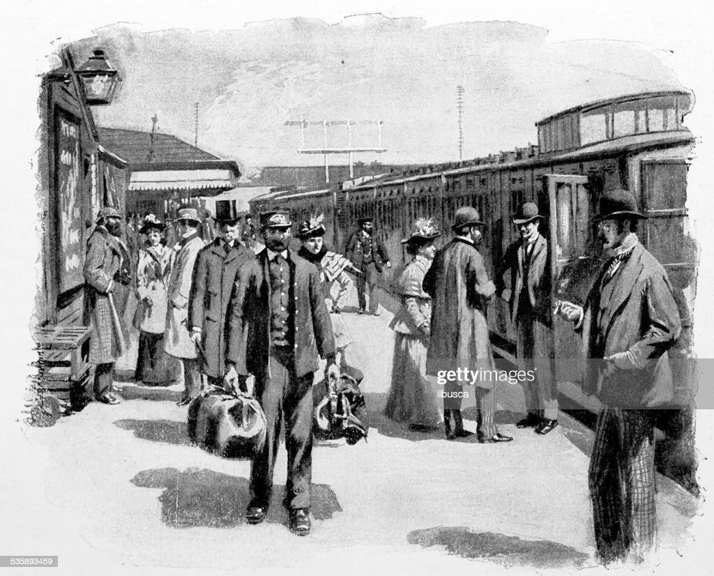 Antique photography-derived dot print illustration: train station : Stockillustraties