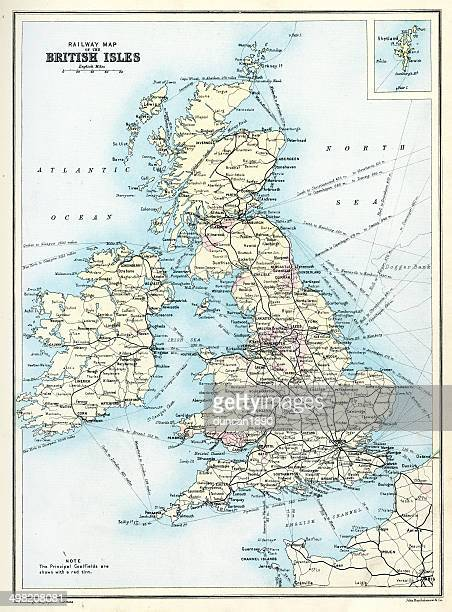 Antique railway map of the British Isles