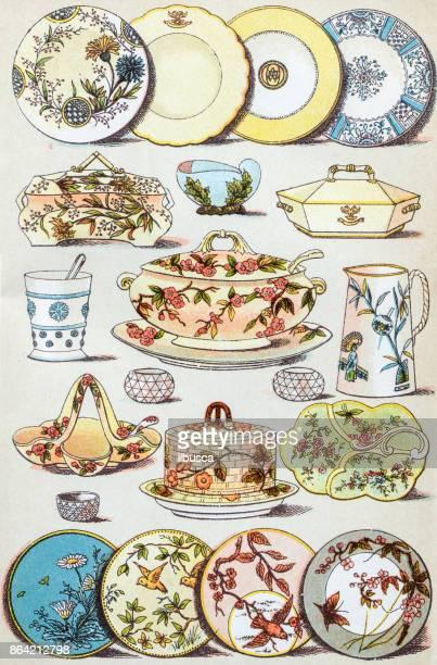 Antique recipes book engraving illustration: Crockery