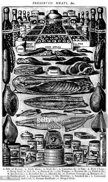 Antique recipes book engraving illustration: Preserved meats