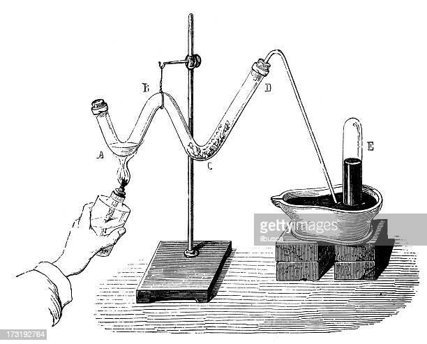 ilustraciones, imágenes clip art, dibujos animados e iconos de stock de antiguo química y física de los experimentos científicos - material de vidrio de laboratorio
