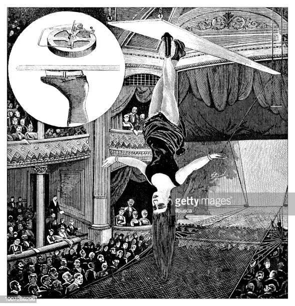 antique scientific engraving illustration: acrobat - theater industry stock illustrations, clip art, cartoons, & icons