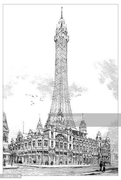 antique scientific engraving illustration: blackpool tower - blackpool tower stock illustrations