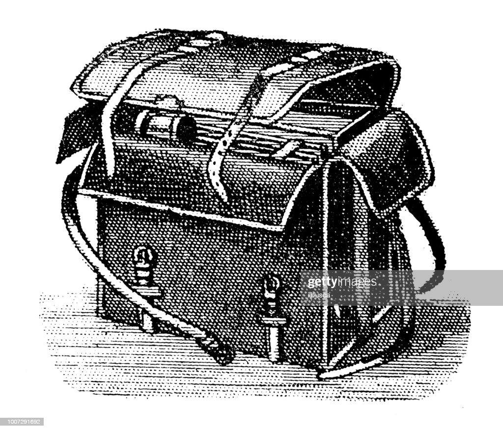 Antique scientific engraving illustration: Camera Bag : stock illustration