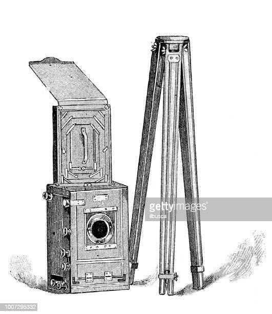 antique scientific engraving illustration: camera - camera tripod stock illustrations, clip art, cartoons, & icons