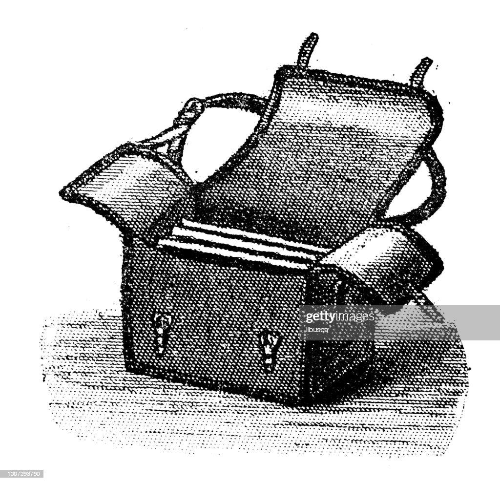 Antique scientific engraving illustration: Camera plates Bag : stock illustration