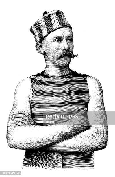 illustrations, cliparts, dessins animés et icônes de antique illustration scientifique gravure: canoéiste - moustache