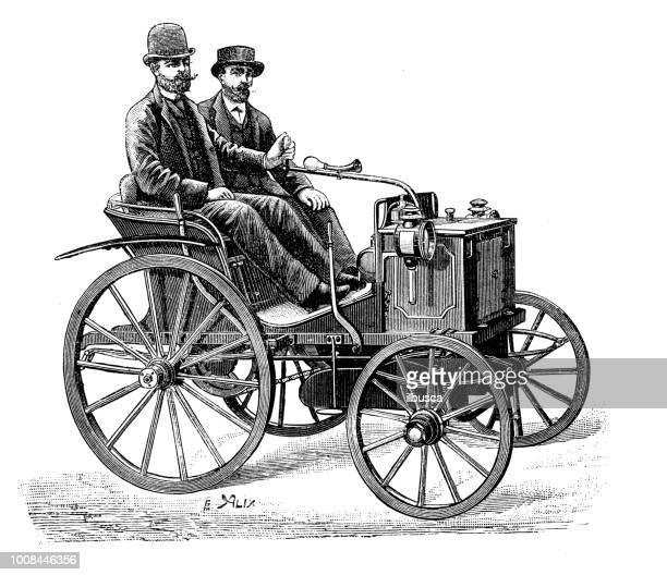 ilustrações, clipart, desenhos animados e ícones de antiga ilustração científica gravura: carro daimler - história