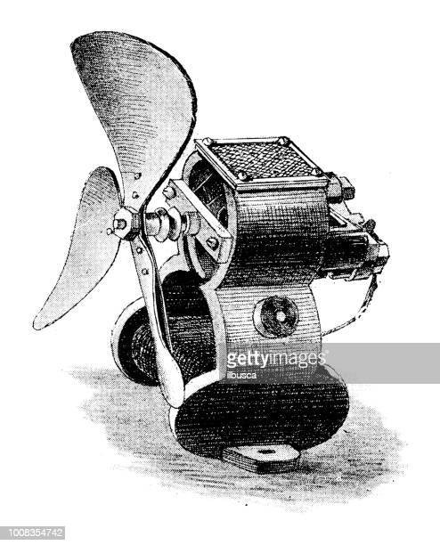antique scientific engraving illustration: electric propeller helix engine - electric fan stock illustrations, clip art, cartoons, & icons