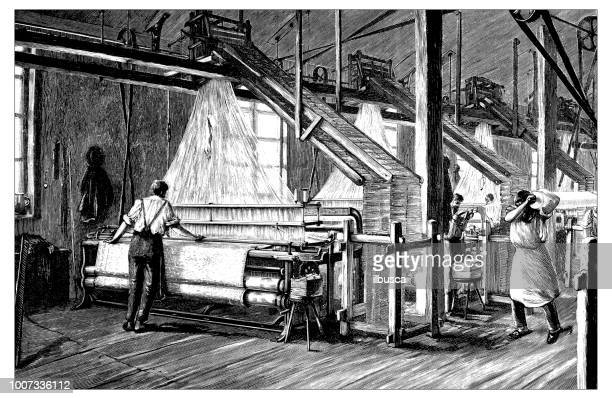 antique scientific engraving illustration: jacquard loom - loom stock illustrations