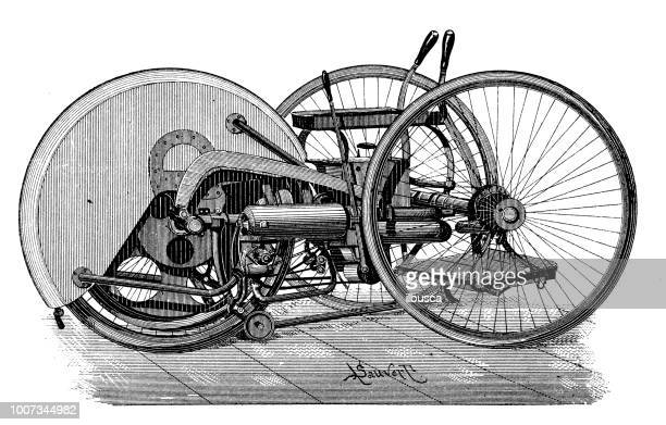 antike wissenschaftliche gravur abbildung: motorisierte dreirad - erfindung stock-grafiken, -clipart, -cartoons und -symbole